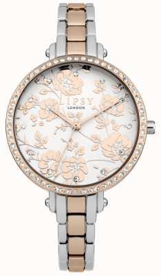 Lipsy Damski dwubarwny kwiatowy zegarek LP569