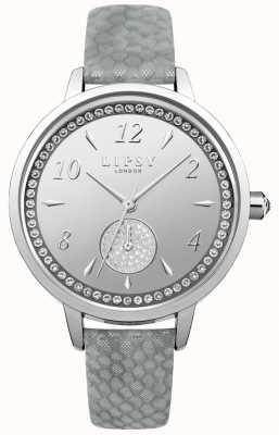 Lipsy Damski szary pasek srebrnej tarczy zegarka LP581