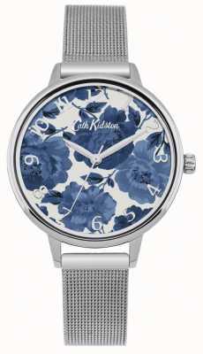 Cath Kidston Damski kwiatowy zegarek z srebrnej siatki CKL051SM