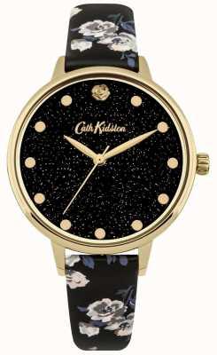 Cath Kidston Damski zegarek kieszonkowy na czarnym tle CKL056BG