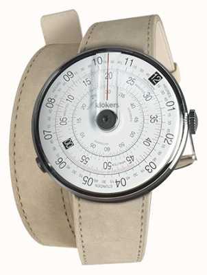 Klokers Klok 01 czarna głowa zegarka szary alcantara podwójny pasek 420mm KLOK-01-D2+KLINK-02-420C6