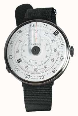Klokers Klok 01 czarna głowa zegarka czarna tkanina z pojedynczym paskiem KLOK-01-D2+KLINK-03-MC3