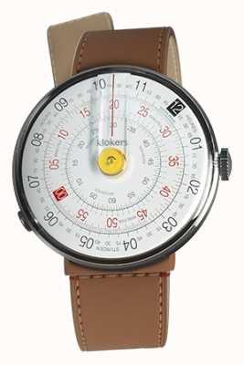 Klokers Klok 01 żółta głowica zegarka karmelowa brązowa cieśnina z pojedynczym paskiem KLOK-01-D1+KLINK-04-LC12
