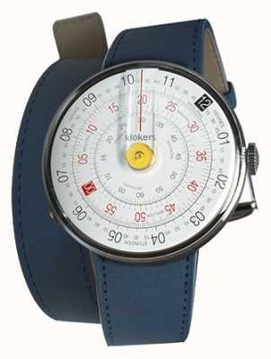 Klokers Klok 01 żółta głowa zegarka indygo niebieski podwójny pasek KLOK-01-D1+KLINK-02-380C3