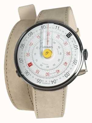 Klokers Klok 01 żółta głowa zegarka szara alcantara podwójny pasek KLOK-01-D1+KLINK-02-380C6