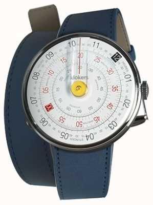 Klokers Klok 01 żółta głowa zegarka indygo niebieski podwójny pasek 420mm KLOK-01-D1+KLINK-02-420C3