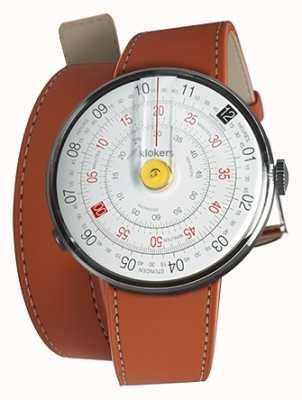 Klokers Klok 01 żółta głowa zegarka pomarańczowy podwójny pasek 420 mm KLOK-01-D1+KLINK-02-420C8