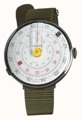 Klokers Klok 01 żółta głowica zegarka zielona zielonka tekstylna pojedynczy pasek KLOK-01-D1+KLINK-03-MC2