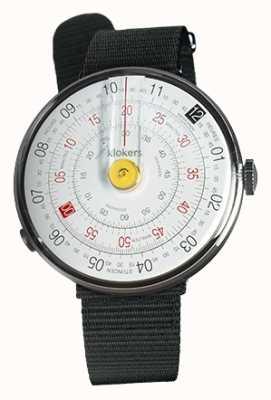 Klokers Klok 01 żółta głowa zegarka czarny tekstylny pojedynczy pasek KLOK-01-D1+KLINK-03-MC3