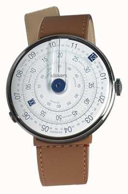 Klokers Klok 01 niebieska głowa zegarka karmelowa brązowa cieśnina pojedynczy pasek KLOK-01-D4.1+KLINK-04-LC12