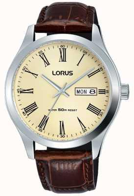 Lorus Stal nierdzewna skórzana bransoletka rzymskie numery krem RXN53DX9