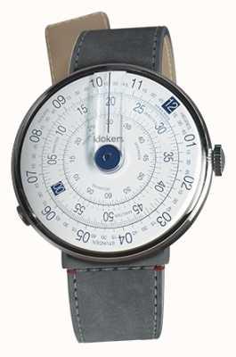 Klokers Klok 01 niebieska głowa zegarka szara alcantara cieśnina pojedynczy pasek KLOK-01-D4.1+KLINK-04-LC11