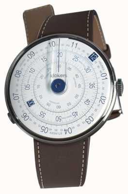 Klokers Klok 01 niebieska głowa zegarka w kolorze czekoladowego brązu z pojedynczym paskiem KLOK-01-D4.1+KLINK-01-MC4