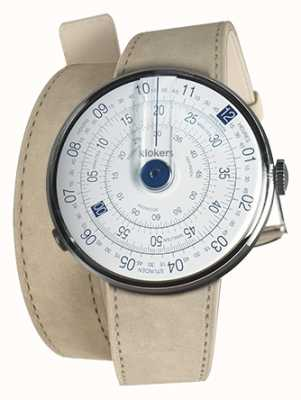 Klokers Klok 01 niebieska głowa zegarka szara alcantara podwójny pasek KLOK-01-D4.1+KLINK-02-380C6