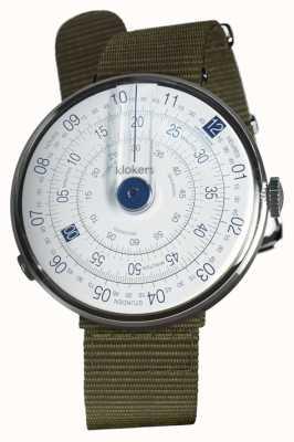 Klokers Klok 01 niebieski zegarek głowa porost zielony włókienniczy pojedynczy pasek KLOK-01-D4.1+KLINK-03-MC2
