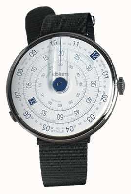 Klokers Klok 01 niebieska głowa zegarka czarna tkanina z pojedynczym paskiem KLOK-01-D4.1+KLINK-03-MC3