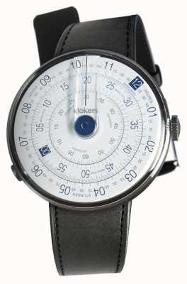 Klokers Klok 01 niebieski zegarek czarny satynowy pojedynczy pasek KLOK-01-D4.1+KLINK-01-MC1