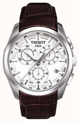 Tissot Męski zegarek chronograf biały wybierania brązowy skórzany pasek T0356171603100