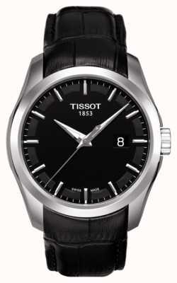 Tissot Mens coutourier czarna tarcza czarny skórzany pasek daty T0354101605100