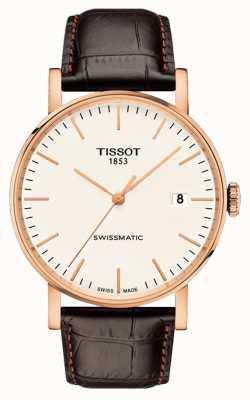 Tissot Męski za każdym razem szwajcarski skórzany pasek w kolorze różowego złota T1094073603100