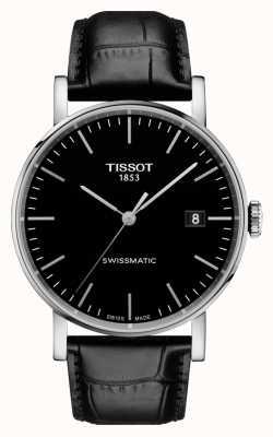 Tissot Męskie za każdym razem swissmatic czarny skórzany czarny pasek wybierania T1094071605100