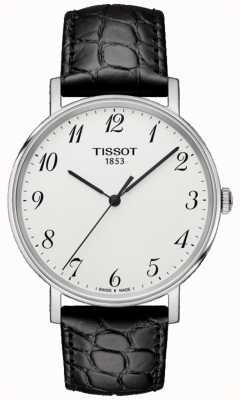 Tissot Mężczyzna za każdym razem średni czarny skórzany srebrny tarcza T1094101603200