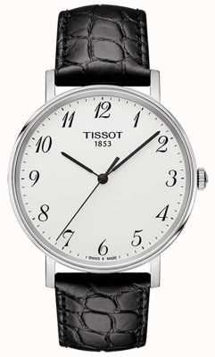 Tissot Męska srebrna tarcza za każdym razem ze średniej czarnej skóry T1094101603200
