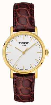 Tissot Damskie za każdym razem brązowe skórzane pozłacane szwajcarskie wykonane T1092103603100