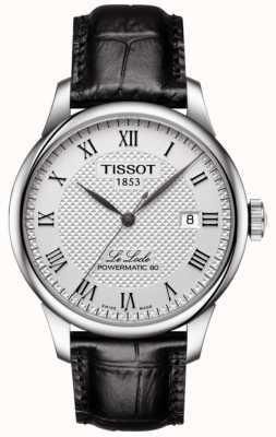 Tissot Mens le locle powermatic 80 srebrnym skórzanym rzemieniem T0064071603300