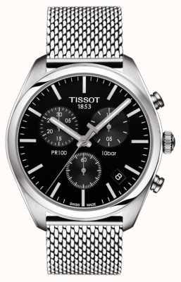 Tissot Mens pr100 chronograf czarna tarcza ze stali nierdzewnej bransoleta T1014171105101