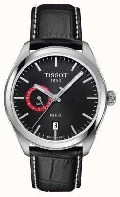 Tissot Męski pr100 dual time czarny skórzany czarny pasek T1014521605100