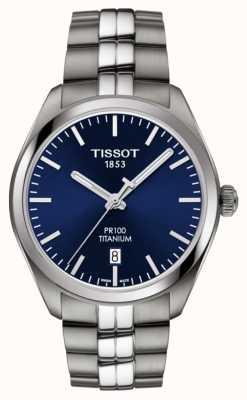 Tissot Męskie pr100 tytanowe niebieskie pokrętło kwarcu T1014104404100
