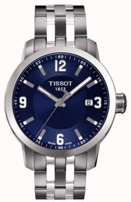 Tissot Męskie prc 200 niebieska tarcza chronograf dwubarwna bransoletka T0554101104700
