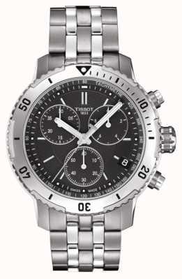 Tissot Mens prs 200 czarna tarcza chronograf ze stali nierdzewnej T0674171105101