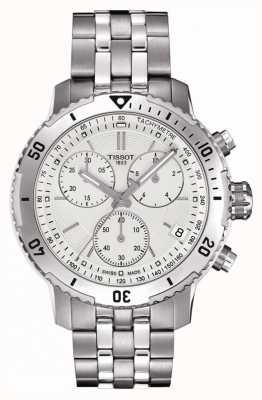Tissot Mens prs 200 srebrna tarcza chronograf ze stali nierdzewnej T0674171103101