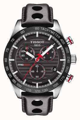 Tissot Męski skórzany pasek chronografu PRS 516 z czarną tarczą T1004171605100