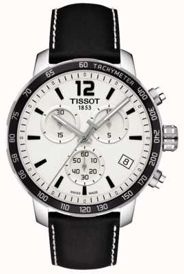 Tissot Mens quickster chronograph biały czarny skórzany pasek wybierania T0954171603700