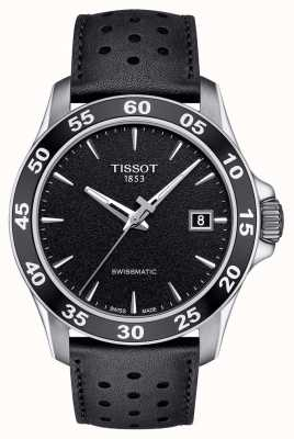 Tissot Mens v8 swissmatic czarny czarny skórzany pasek wybierania T1064071605100