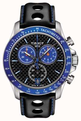 Tissot Mens v8 alpine blue dial carbon fiber dial black leather T1064171620101