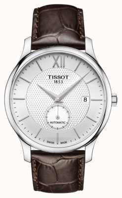 Tissot Męski tradycja automatyczny mały drugi tarcza brązowa skóra T0634281603800