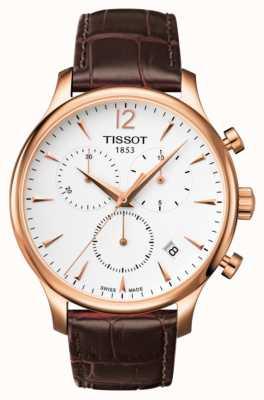 Tissot Chronograf męski z chronografem w kolorze różowego złota brązowej skóry T0636173603700