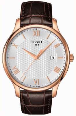 Tissot Mens tradycja rose pozłacane srebrne tarcze brązowy skórzany T0636103603800