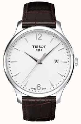 Tissot Męski tradycja brązowy skórzany pasek srebrna tarcza T0636101603700