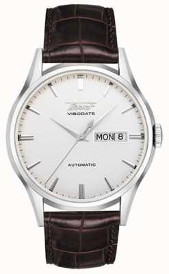 Tissot Mens dziedzictwo visodate automatyczny srebrny wybierania brązowej skóry T0194301603101
