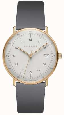 Junghans Skórzany zegarek Max bill damen ze szarego kwarcu 047/7854.04