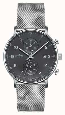 Junghans Męski chronograf z srebrnego paska z chronografu w kształcie litery C. 041/4877.44