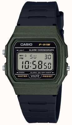 Casio Obudowa zielona i czarna z chronografem F-91WM-3AEF
