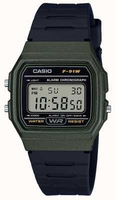 Casio Chronograf alarmowy zielono-czarna obudowa F-91WM-3AEF