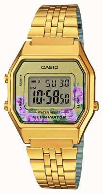 Casio Oświetlacz złoty pvd platerowane kwiatowy wybierania LA680WEGA-4CEF