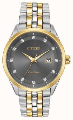 Citizen Zestaw męskich diamentów Corso z szarą tarczą w dwukolorowej bransoletce BM7258-54H